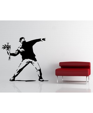 BANKSY STICKER ADESIVO PER MURI 80X80CM LOVE IS IN THE AIR