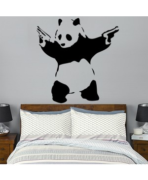 BANKSY STICKER ADESIVO PER MURI 58X67CM PANDA WITH GUNS